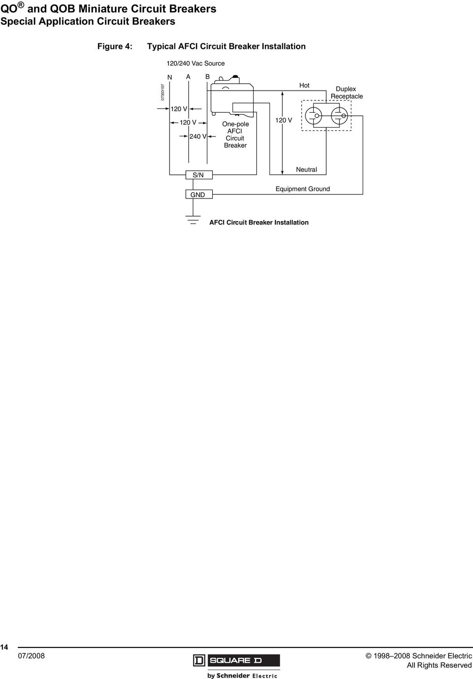 Qo And Qob Miniature Circuit Breakers Pdf Afci Gfci Wiring Diagram Find A Guide With One Pole 1 V Breaker Hot Duplex Receptacle