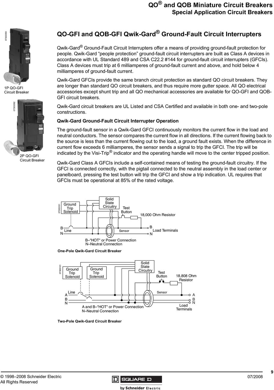 Qo And Qob Miniature Circuit Breakers Pdf Square D Qwikgard 15 Amp Singlepole Gfci Breaker Qwik Gard People Protection Ground Fault Interrupters Are Built As Class A Devices
