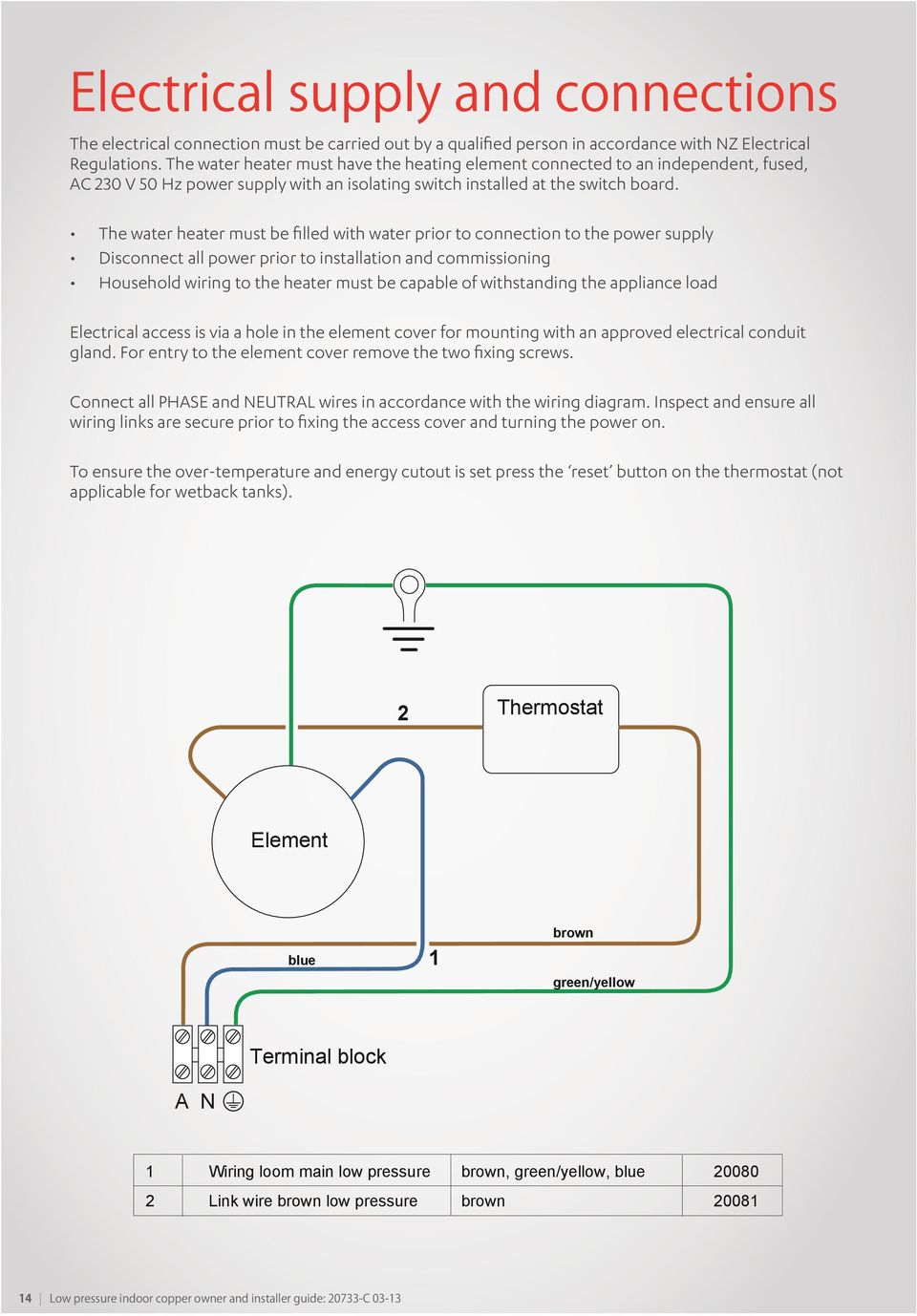 Low Pressure Indoor Copper Tanks Pdf Home Water Heater Electrical Wiring Diagrams The Must Be Filled With Prior To Connection Power Supply Disconnect