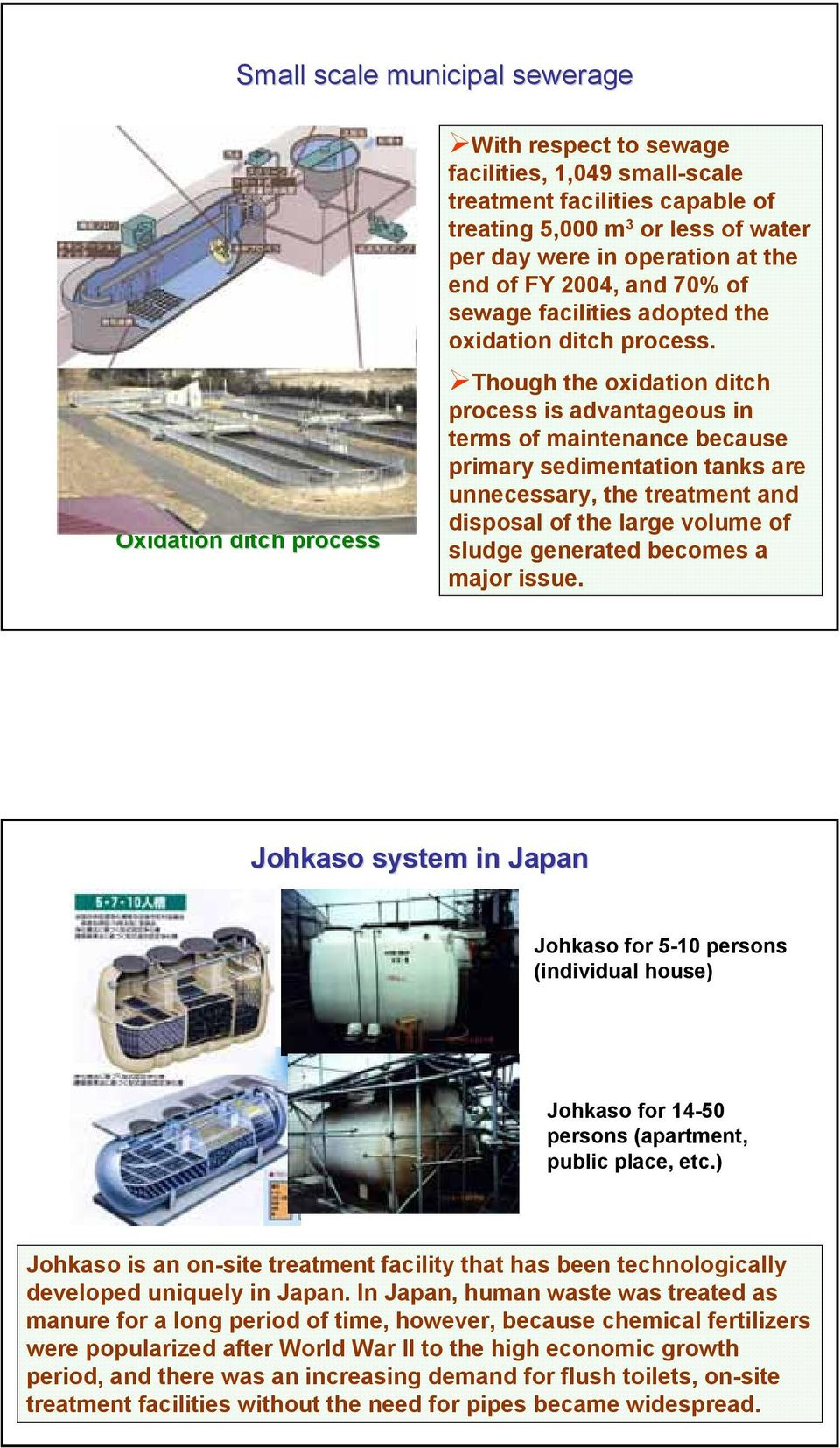 Small-Scale Scale Domestic Wastewater Treatment Technology in Japan