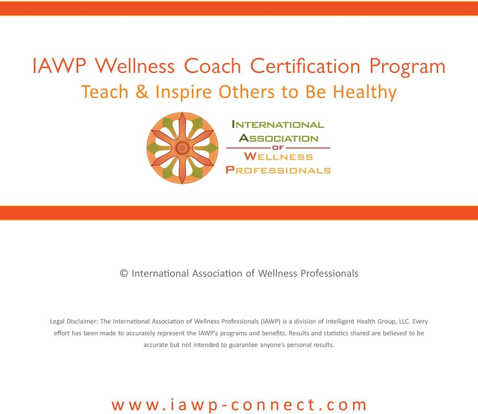 Iawp Wellness Coach Certification Program Teach Inspire Others To