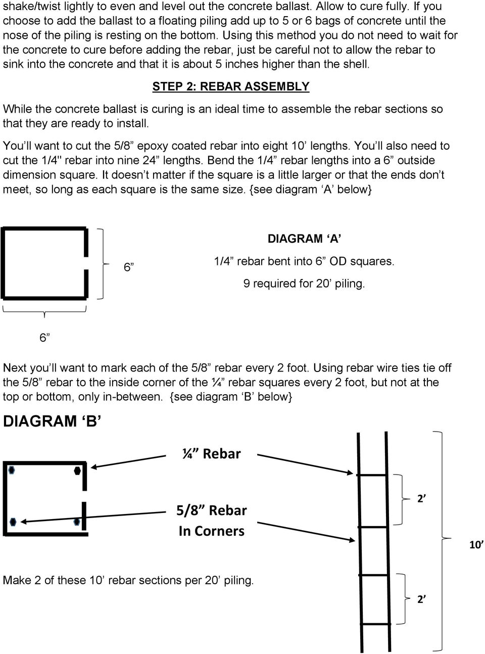 Cougar DIY Dock And Boat Lift Piling Installation Instructions - PDF