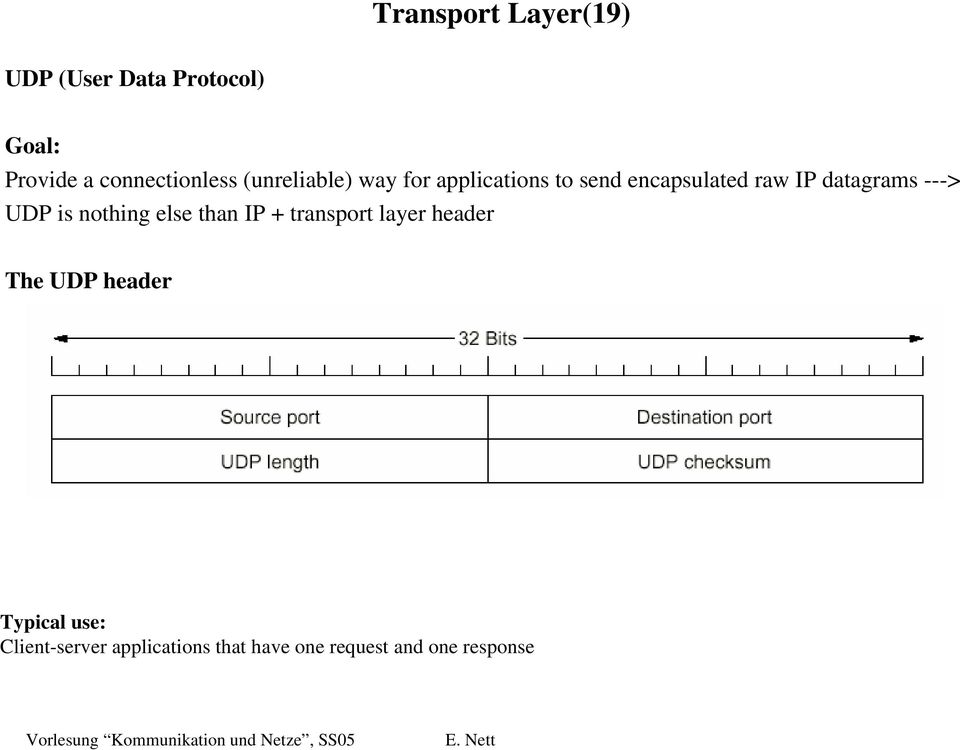 IP datagrams ---> UDP is nothing else than IP + transport layer header The