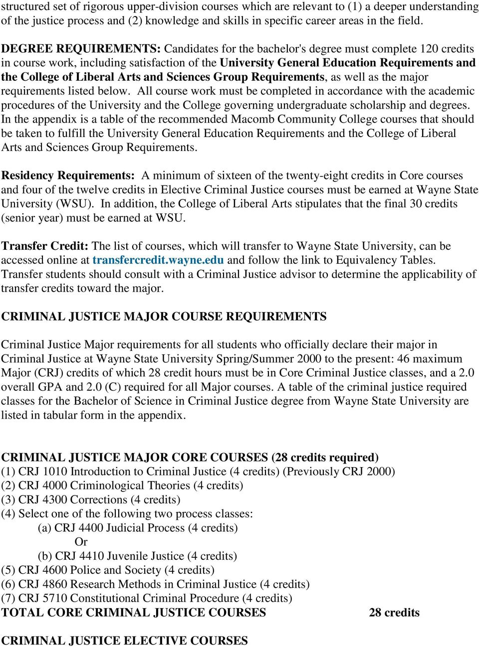 MAJOR IN CRIMINAL JUSTICE AT THE UNIVERSITY CENTER AT MACOMB