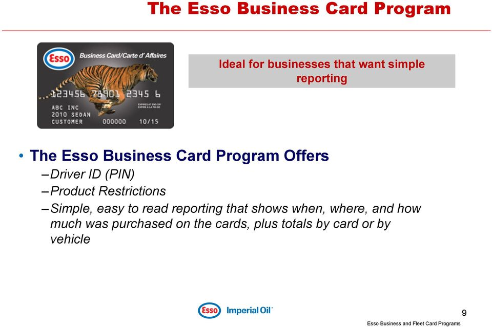 Essocnla fuel program pdf restrictions simple easy to read reporting that shows when where and 10 the esso business card reheart Choice Image
