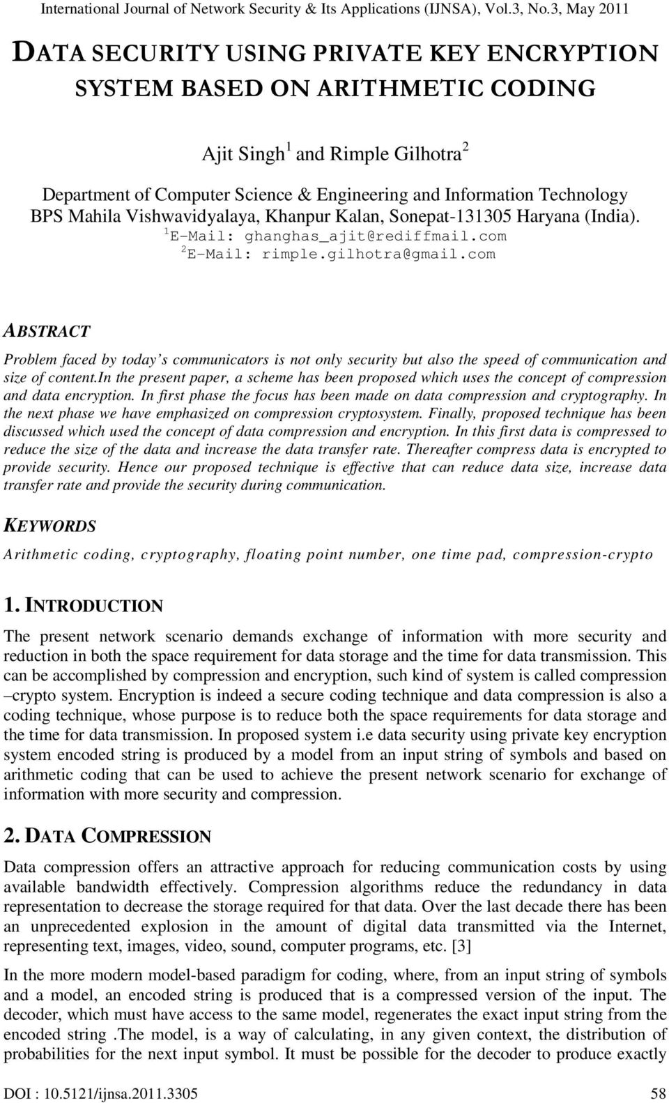 DATA SECURITY USING PRIVATE KEY ENCRYPTION SYSTEM BASED ON