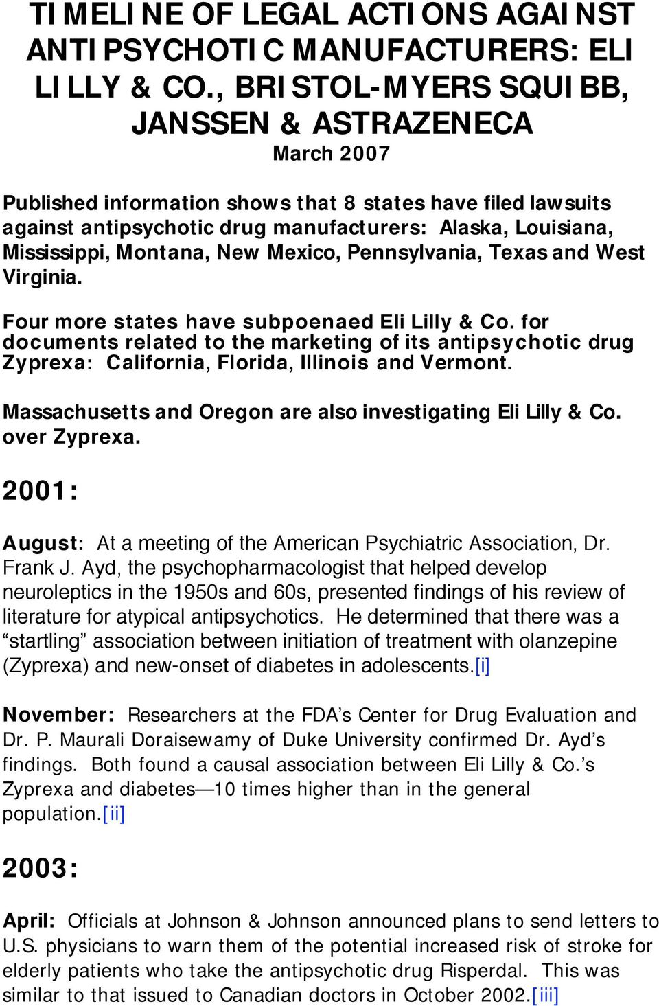 Montana, New Mexico, Pennsylvania, Texas and West Virginia. Four more states have subpoenaed Eli Lilly & Co.