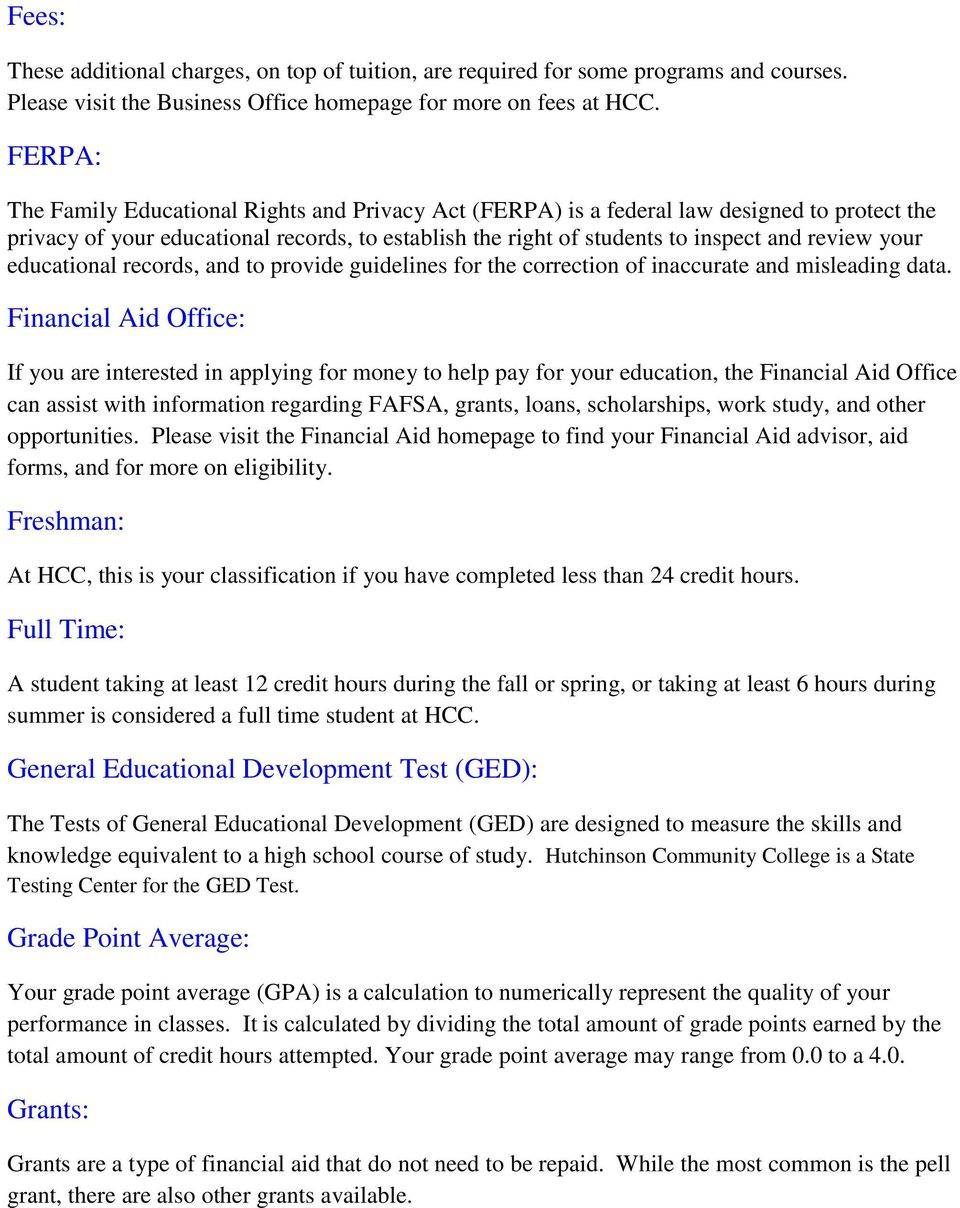 ferpa form hcc  Hutchinson Community College Glossary of College Terms - PDF ...