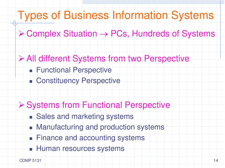Perspective Systems from Functional Perspective Sales and marketing systems