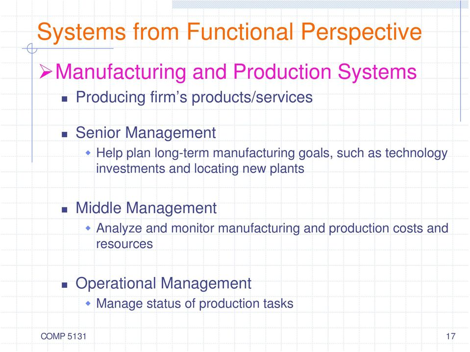 technology investments and locating new plants Middle Management Analyze and monitor