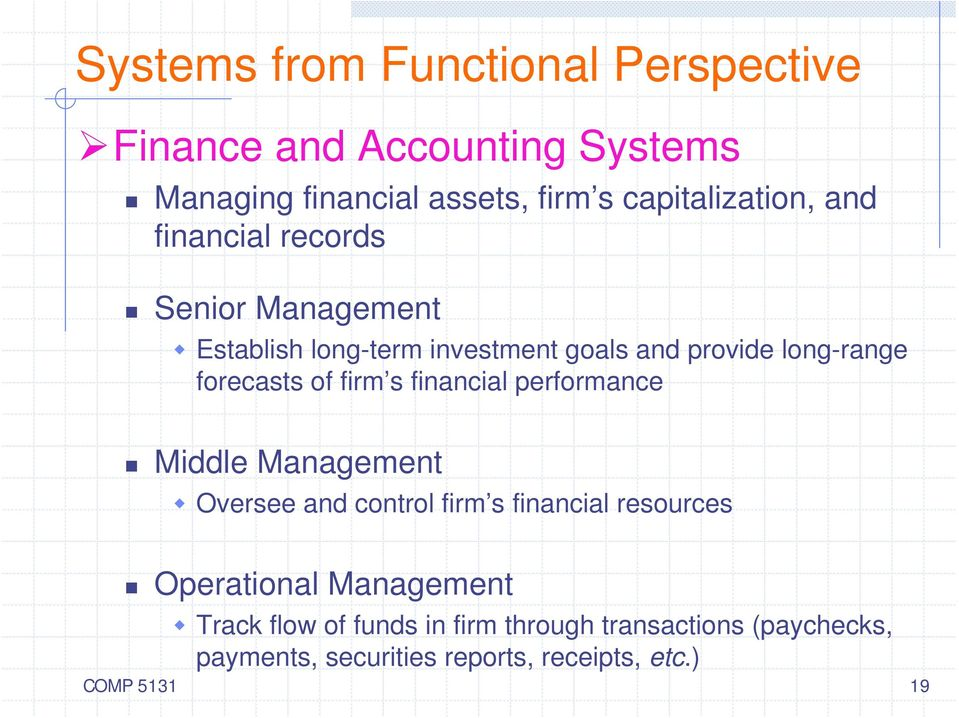 firm s financial performance Middle Management Oversee and control firm s financial resources Operational Management