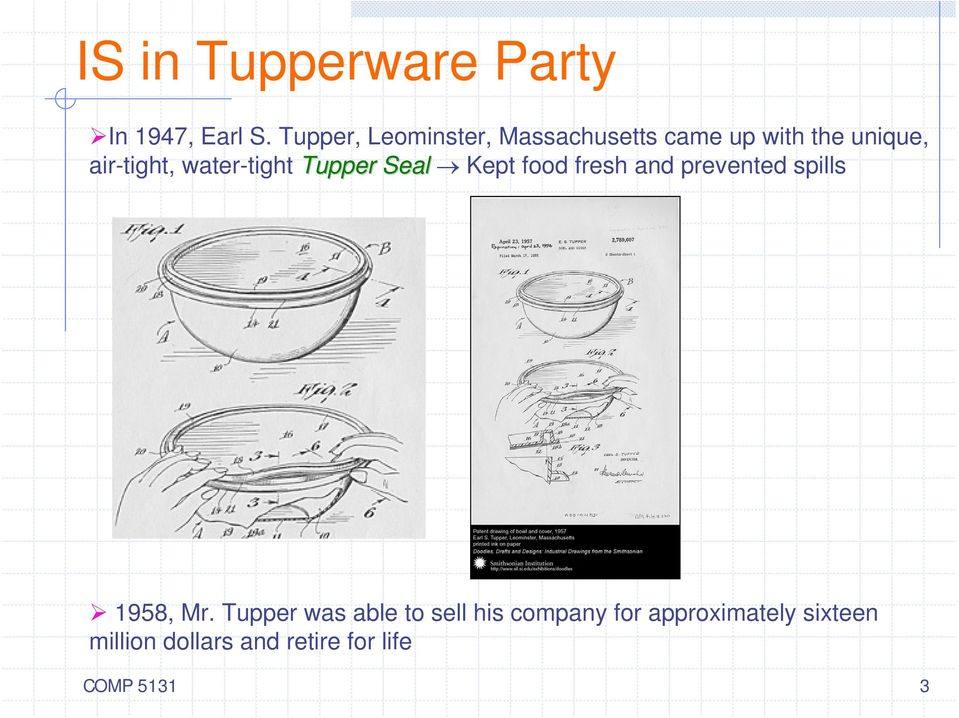 water-tight Tupper Seal Kept food fresh and prevented spills 1958, Mr.