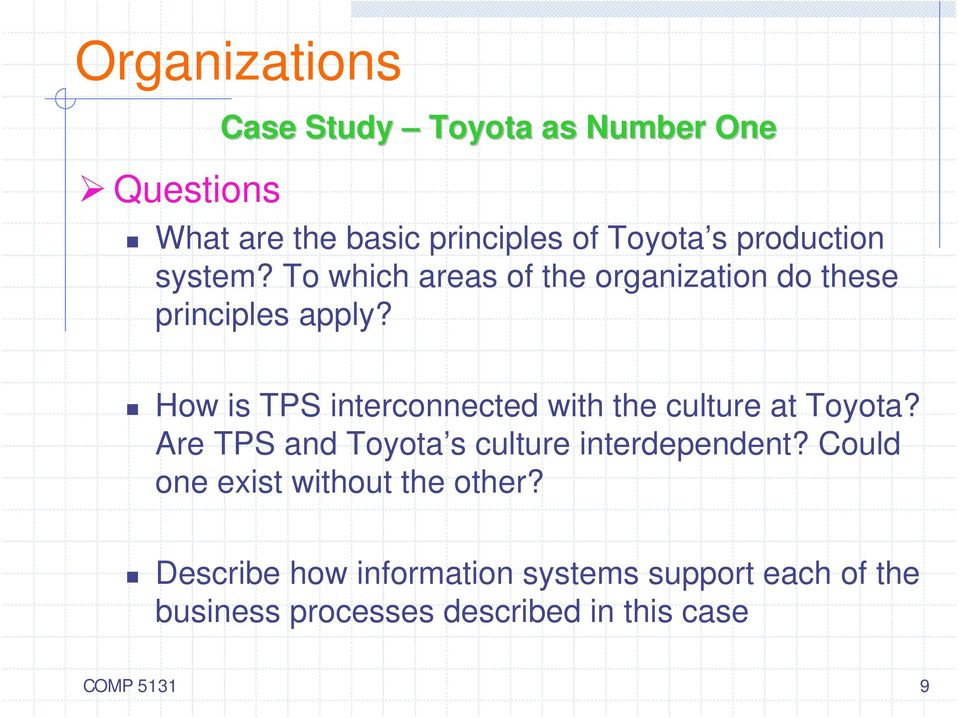 How is TPS interconnected with the culture at Toyota? Are TPS and Toyota s culture interdependent?
