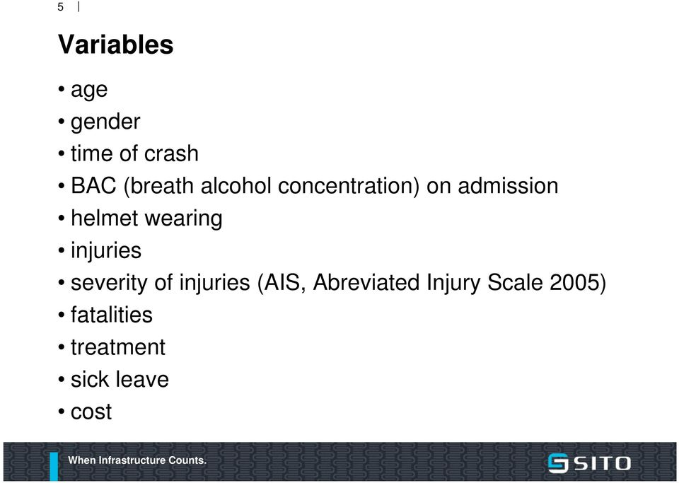 injuries severity of injuries (AIS, Abreviated