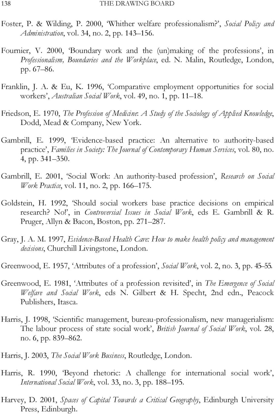 1996, Comparative employment opportunities for social workers, Australian Social Work, vol. 49, no. 1, pp. 11 18. Friedson, E.
