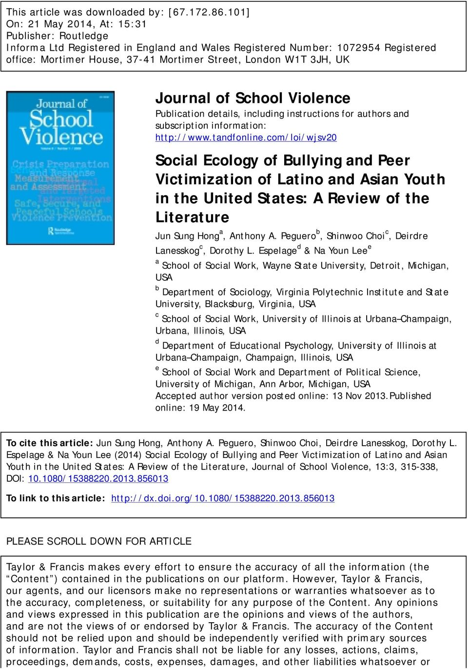 UK Journal of School Violence Publication details, including instructions for authors and subscription information: http://www.tandfonline.