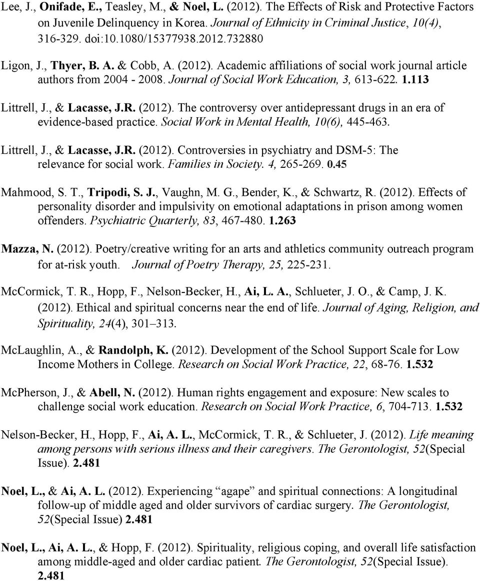 113 Littrell, J., & Lacasse, J.R. (2012). The controversy over antidepressant drugs in an era of evidence-based practice. Social Work in Mental Health, 10(6), 445-463. Littrell, J., & Lacasse, J.R. (2012). Controversies in psychiatry and DSM-5: The relevance for social work.