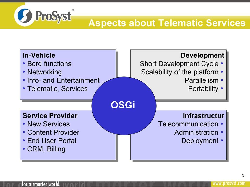 User Portal CRM, Billing OSGi Development Short Development Cycle Scalability of the
