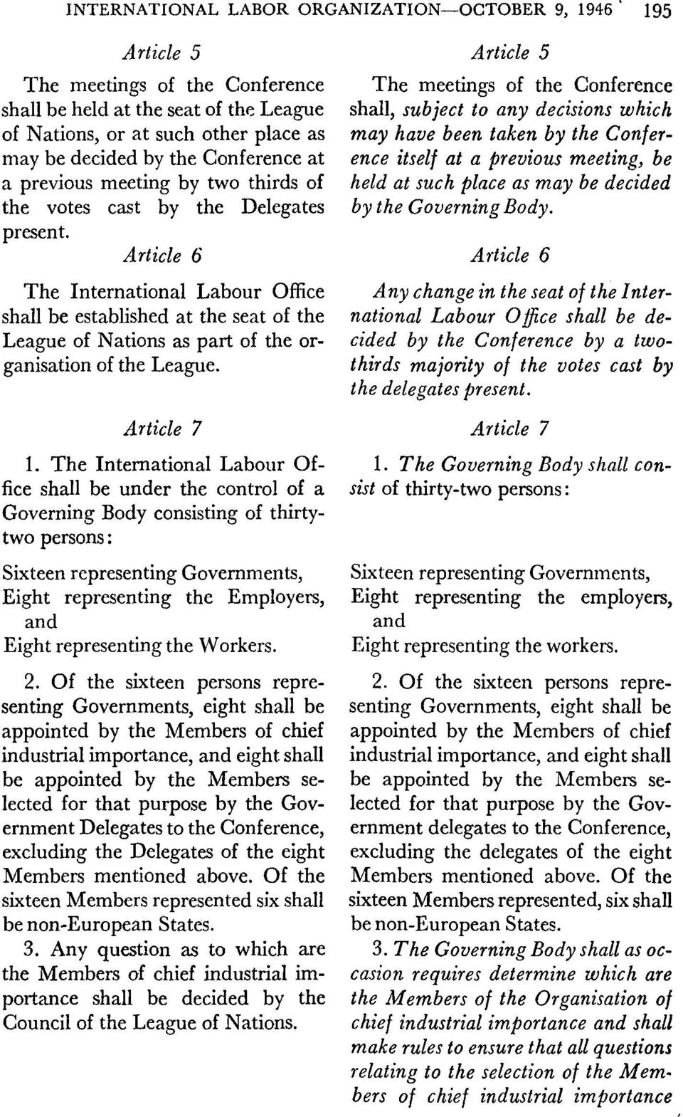 Article 6 The International Labour Office shall be established at the seat of the League of Nations as part of the organisation of the League. Article 7 1.