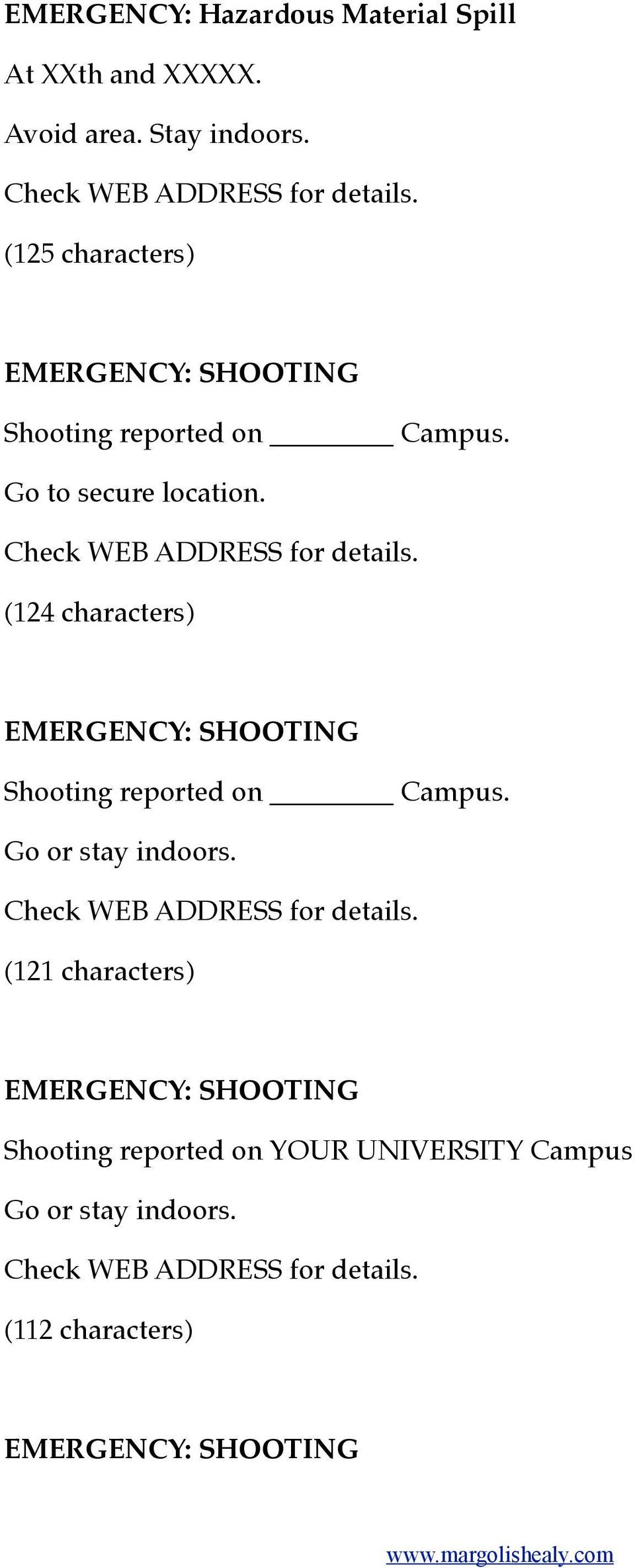 (124 characters) EMERGENCY: SHOOTING Shooting reported on Campus. Go or stay indoors.