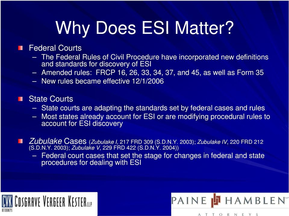 as well as Form 35 New rules became effective 12/1/2006 State Courts State courts are adapting the standards set by federal cases and rules Most states already account