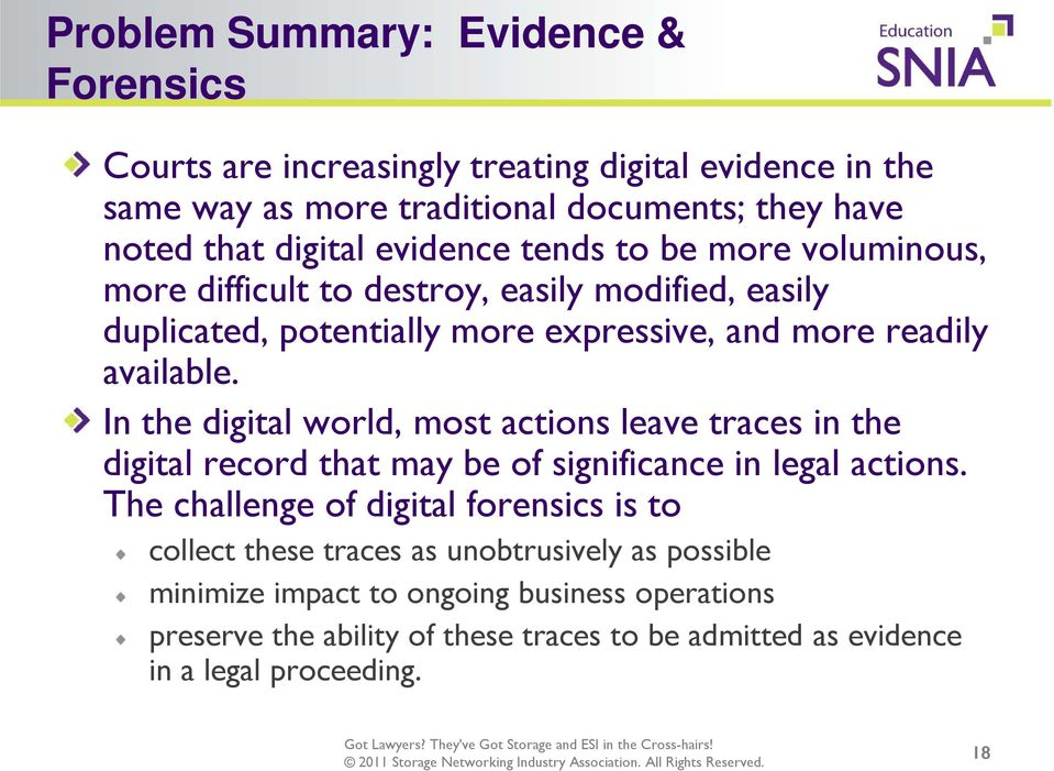 In the digital world, most actions leave traces in the digital record that may be of significance in legal actions.