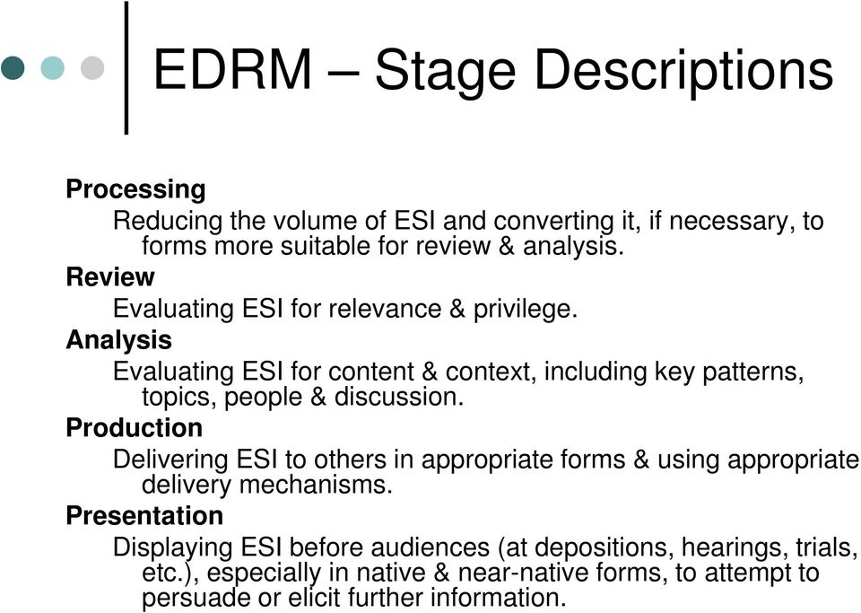 Analysis Evaluating ESI for content & context, including key patterns, topics, people & discussion.