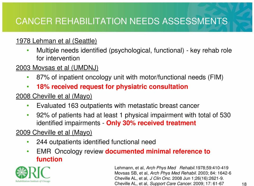 at least 1 physical impairment with total of 530 identified impairments - Only 30% received treatment 2009 Cheville et al (Mayo) 244 outpatients identified functional need EMR Oncology review