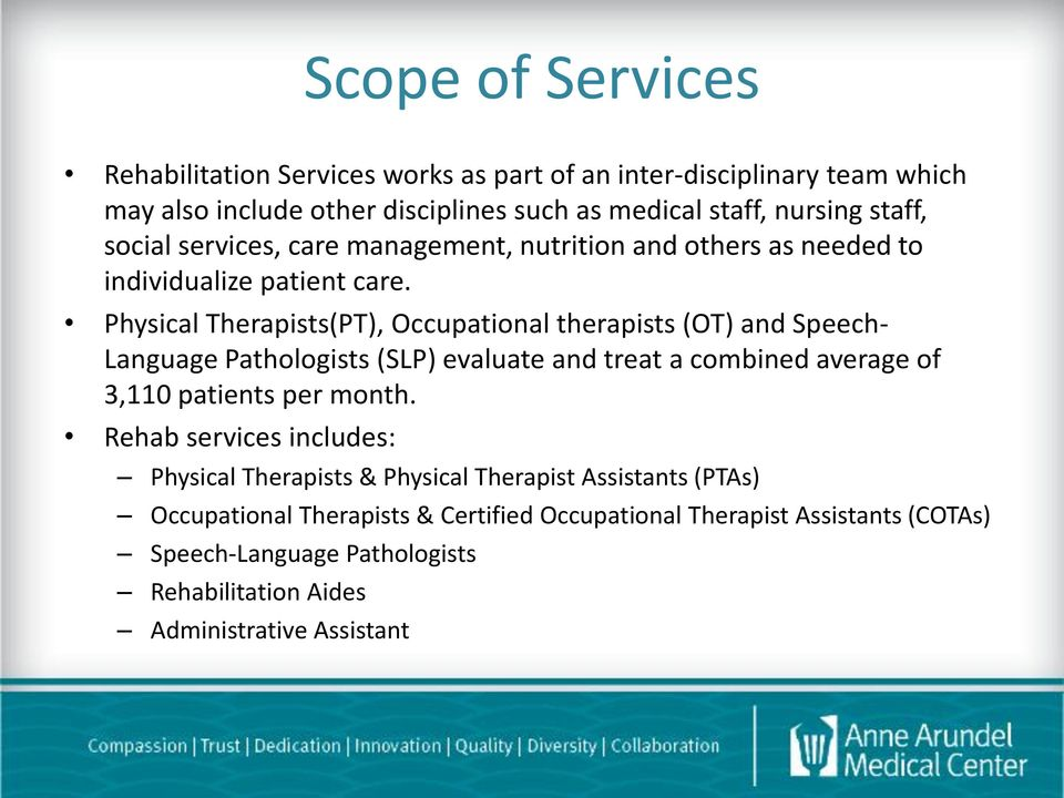 Physical Therapists(PT), Occupational therapists (OT) and Speech- Language Pathologists (SLP) evaluate and treat a combined average of 3,110 patients per month.