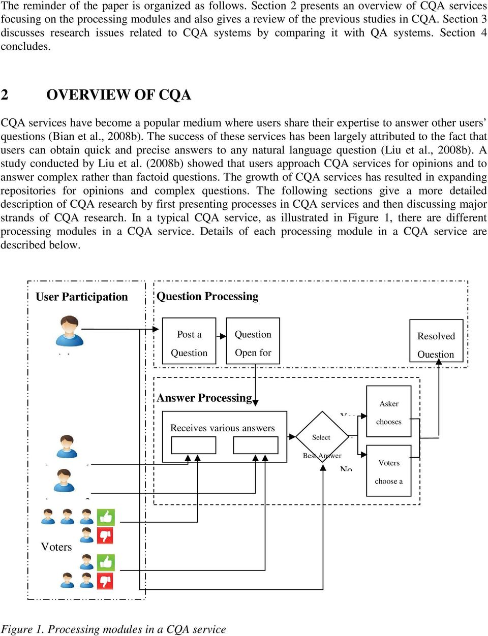 2 OVERVIEW OF CQA CQA services have become a popular medium where users share their expertise to answer other users questions (Bian et al., 2008b).