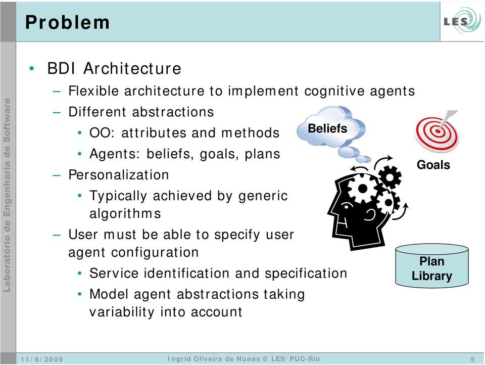 achieved by generic algorithms User must be able to specify user agent configuration Service