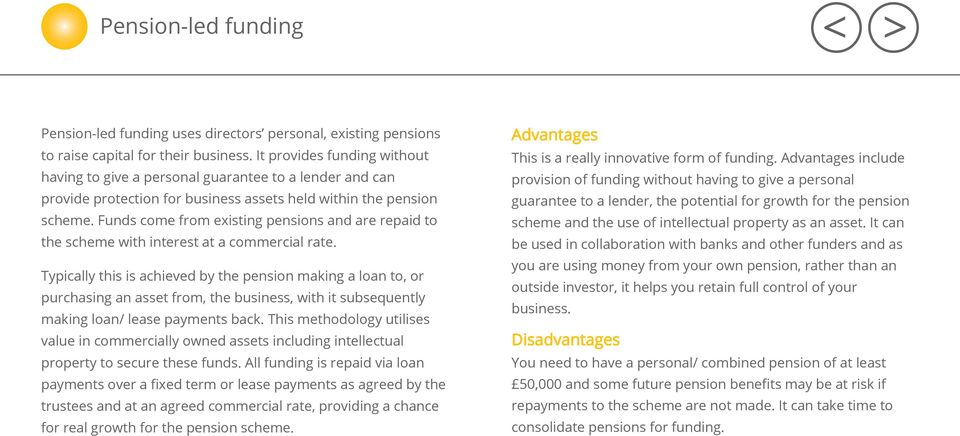Funds come from existing pensions and are repaid to the scheme with interest at a commercial rate.