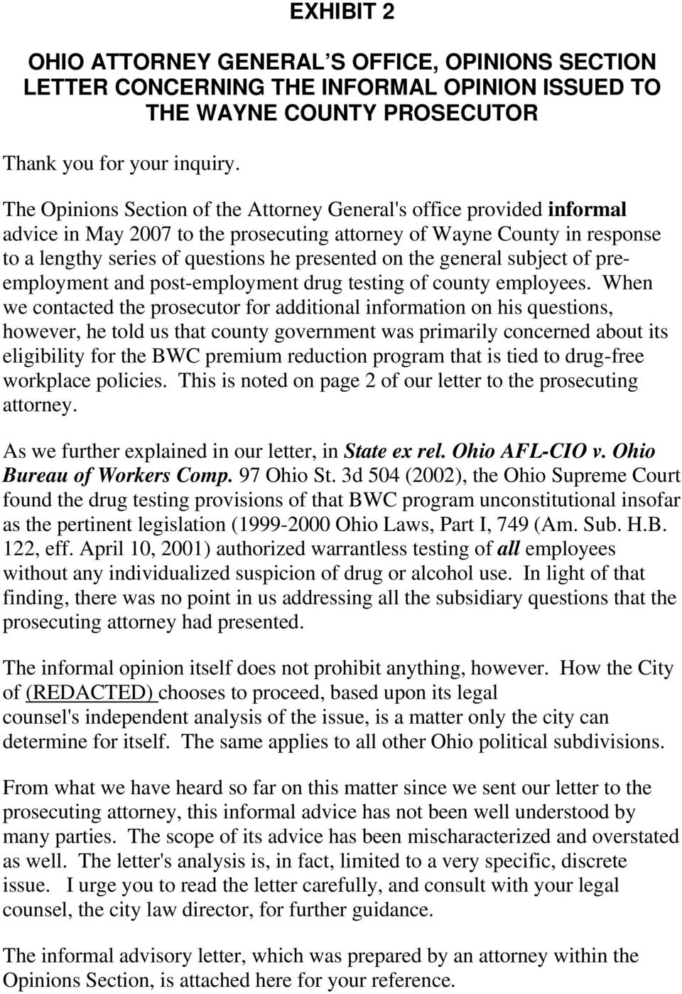 general subject of preemployment and post-employment drug testing of county employees.