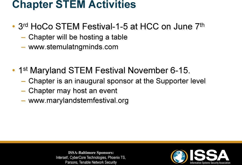 com 1 st Maryland STEM Festival November 6-15.
