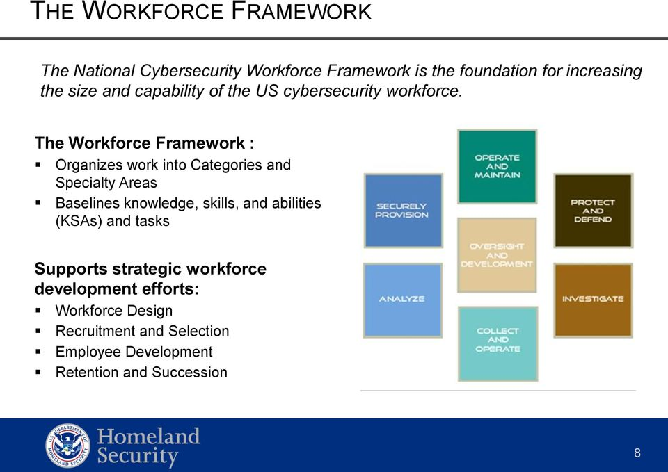 The Workforce Framework : Organizes work into Categories and Specialty Areas Baselines knowledge, skills, and