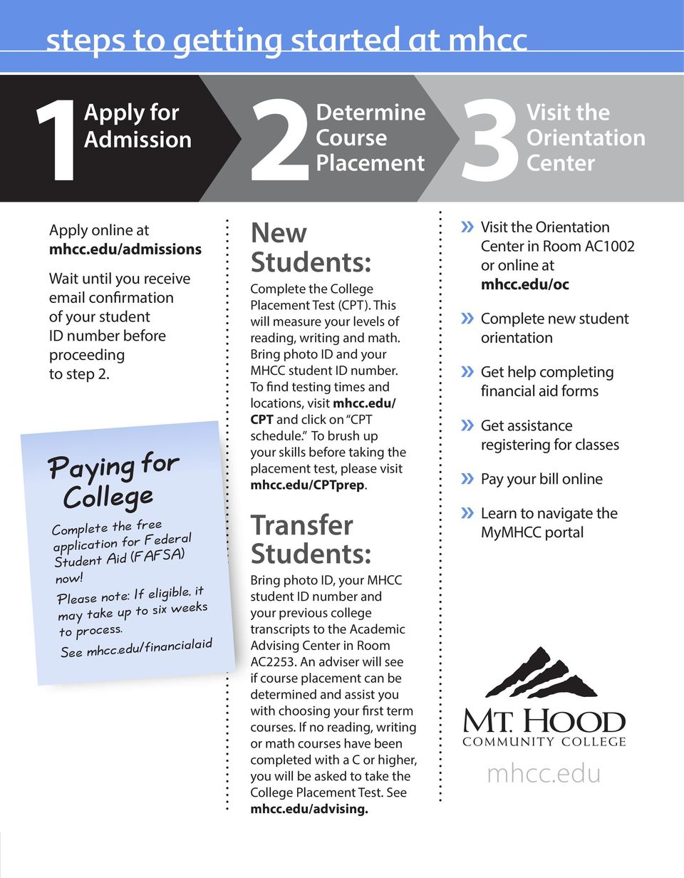 edu/financialaid 2Determine Course Placement New Students: Complete the College Placement Test (CPT). This will measure your levels of reading, writing and math.