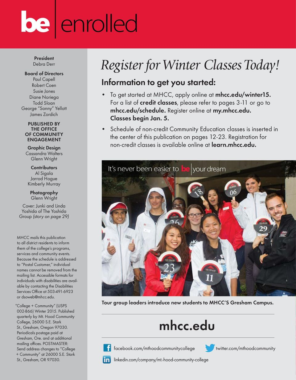 Register for Winter Classes Today! Information to get you started: To get started at MHCC, apply online at mhcc.edu/winter15. For a list of credit classes, please refer to pages 3-11 or go to mhcc.