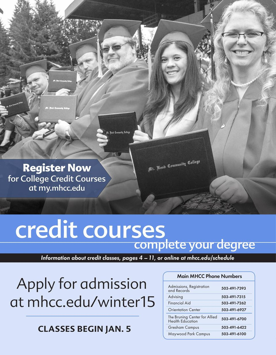 edu/schedule Apply for admission at mhcc.edu/winter15 CLASSES BEGIN JAN.