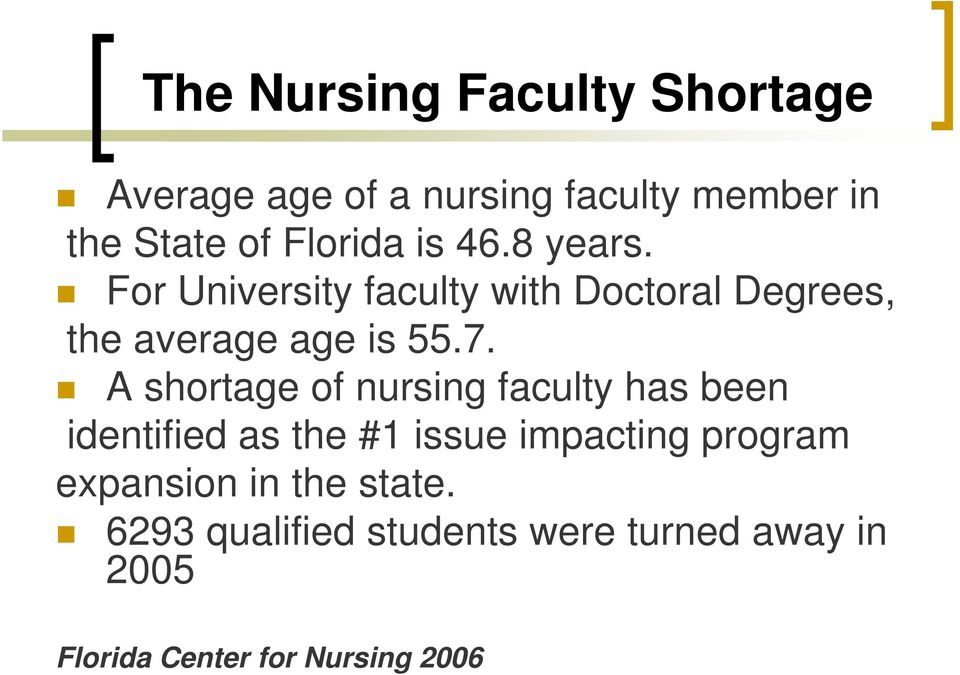 7. A shortage of nursing faculty has been identified as the #1 issue impacting program