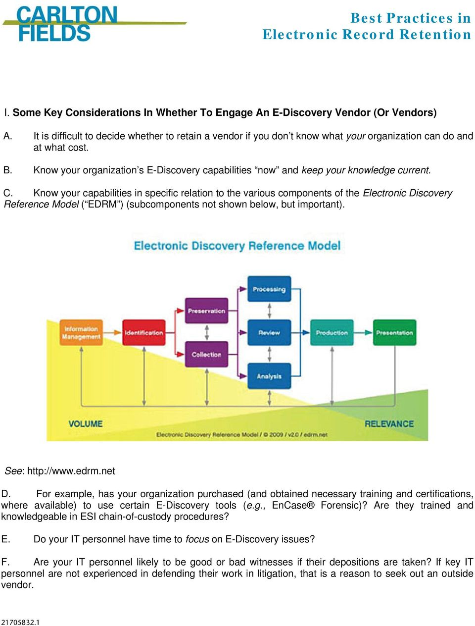 Know your organization s E-Discovery capabilities now and keep your knowledge current. C.