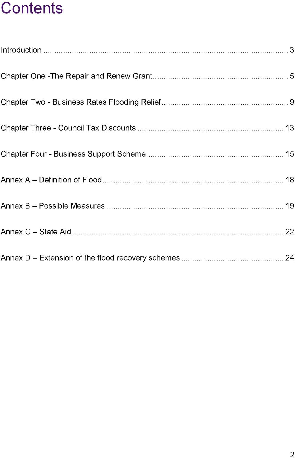 .. 9 Chapter Three - Council Tax Discounts... 13 Chapter Four - Business Support Scheme.