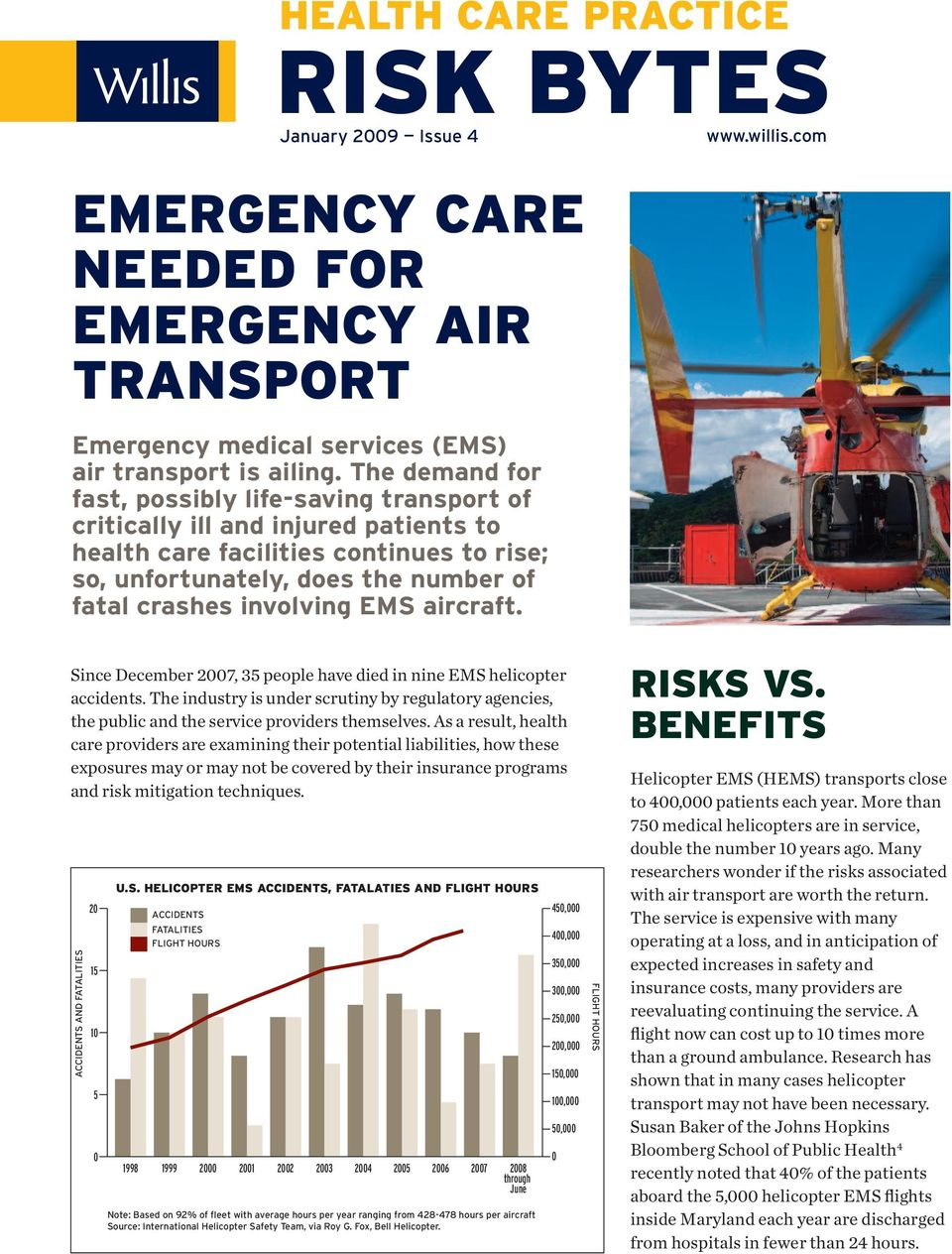 EMS aircraft. Since December 2007, 35 people have died in nine EMS helicopter accidents. The industry is under scrutiny by regulatory agencies, the public and the service providers themselves.