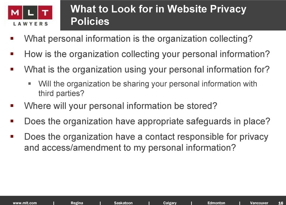 Will the organization be sharing your personal information with third parties? Where will your personal information be stored?