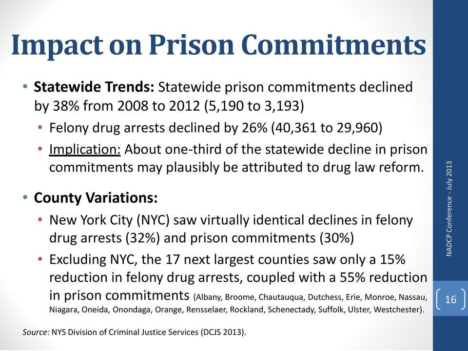 County Variations: New York City (NYC) saw virtually identical declines in felony drug arrests (32%) and prison commitments (30%) Excluding NYC, the 17 next largest counties saw only a 15% reduction
