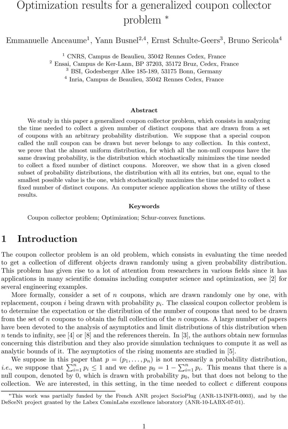 Optimization Results For A Generalized Coupon Collector Problem Pdf Free Download