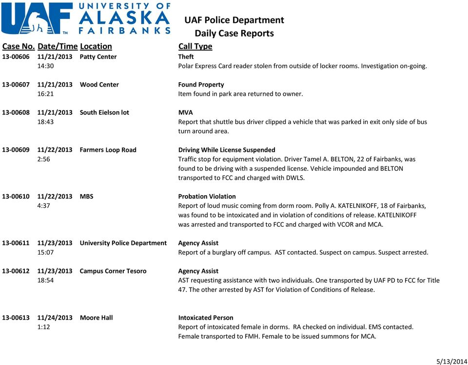 UAF Police Department Daily Case Reports - PDF