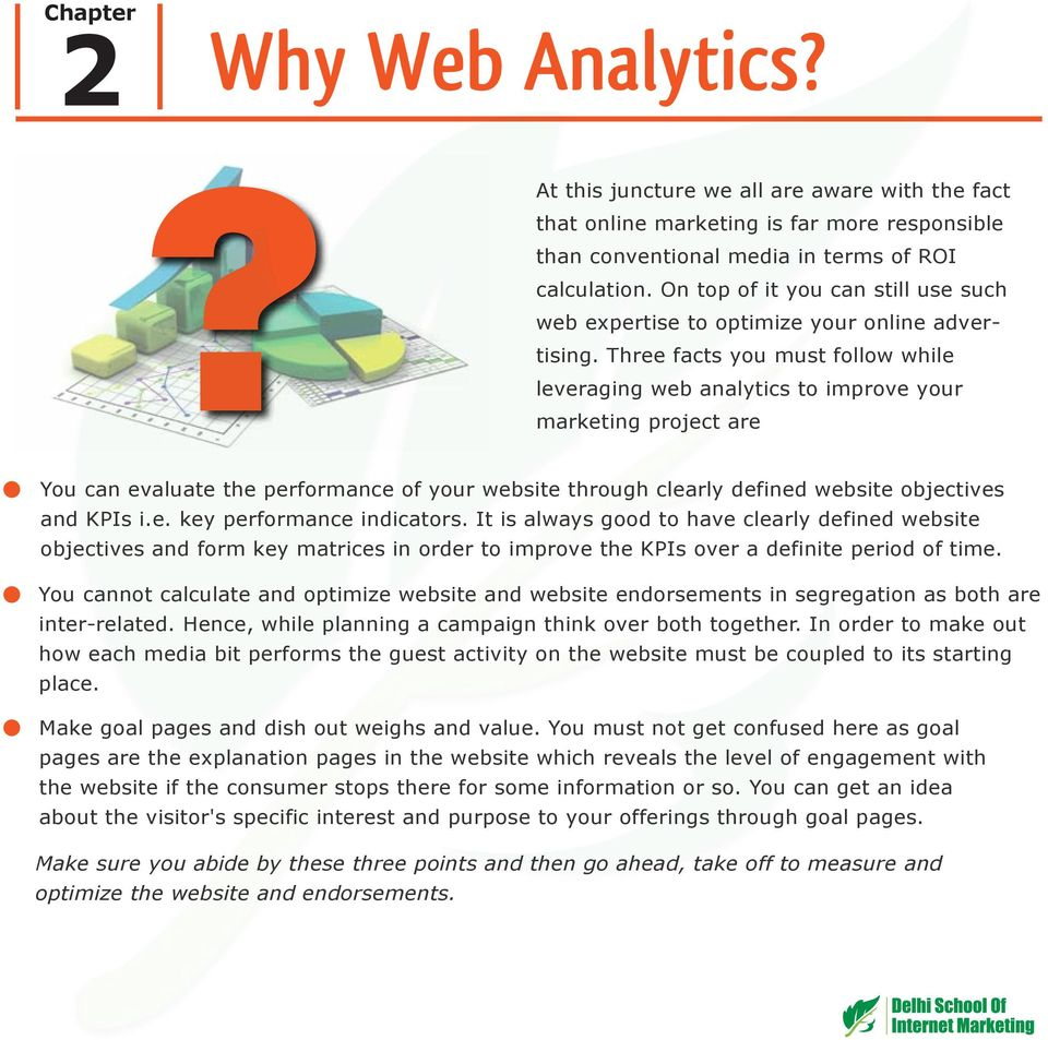 Three facts you must follow while leveraging web analytics to improve your marketing project are You can evaluate the performance of your website through clearly defined website objectives and KPIs i.
