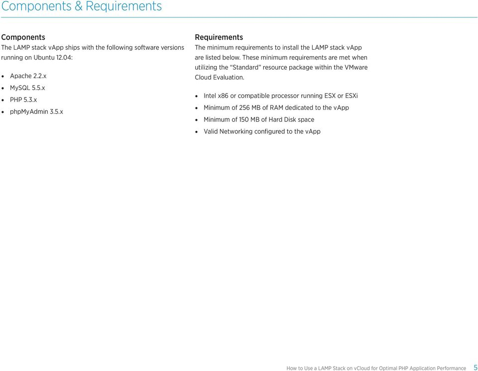 These minimum requirements are met when utilizing the Standard resource package within the VMware Cloud Evaluation.