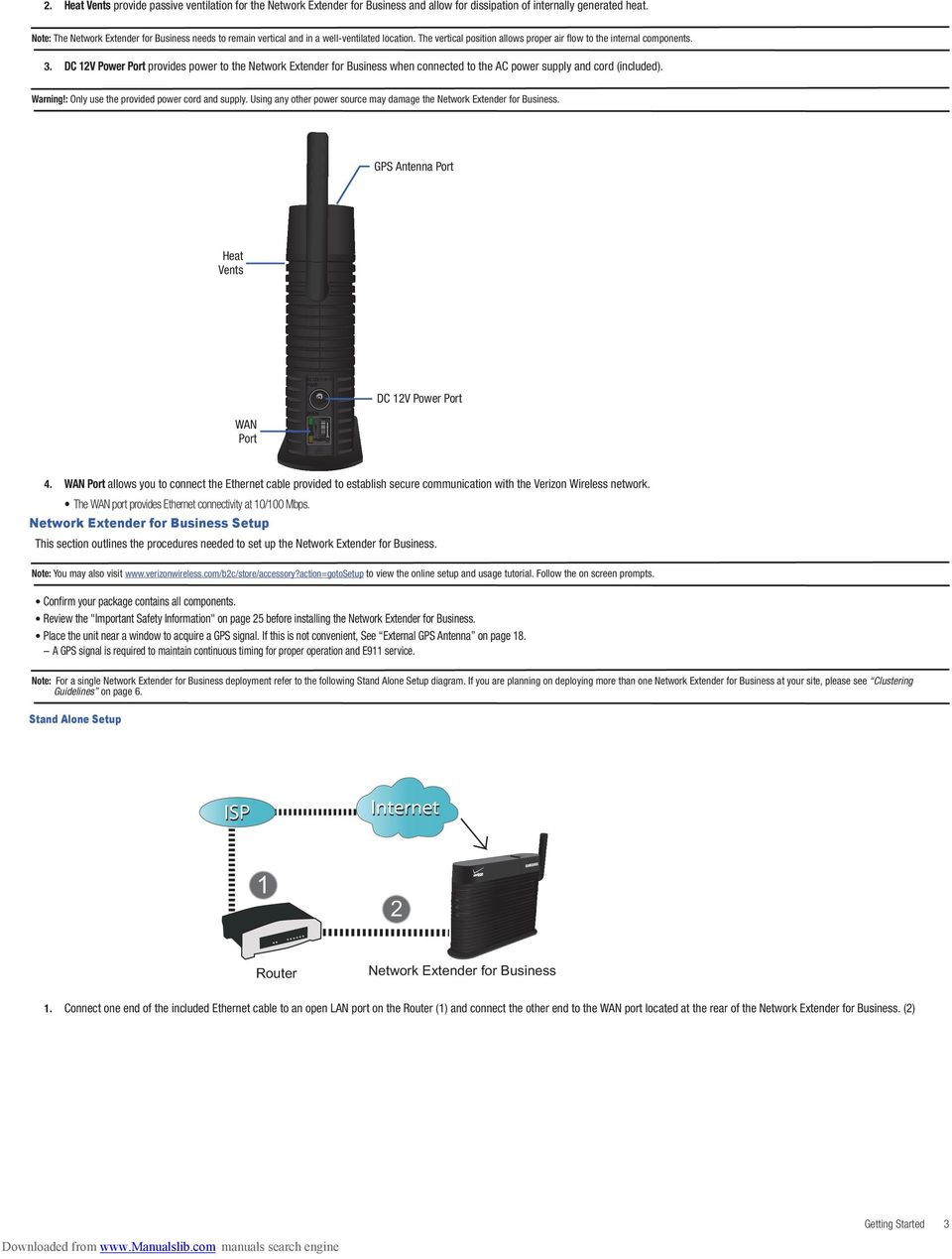 Verizon Wireless Network Extender For Business User Manual Please Home Diagram Dc 12v Power Port Provides To The When Connected
