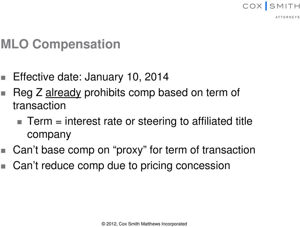 affiliated title company Can t base comp on proxy for term of transaction